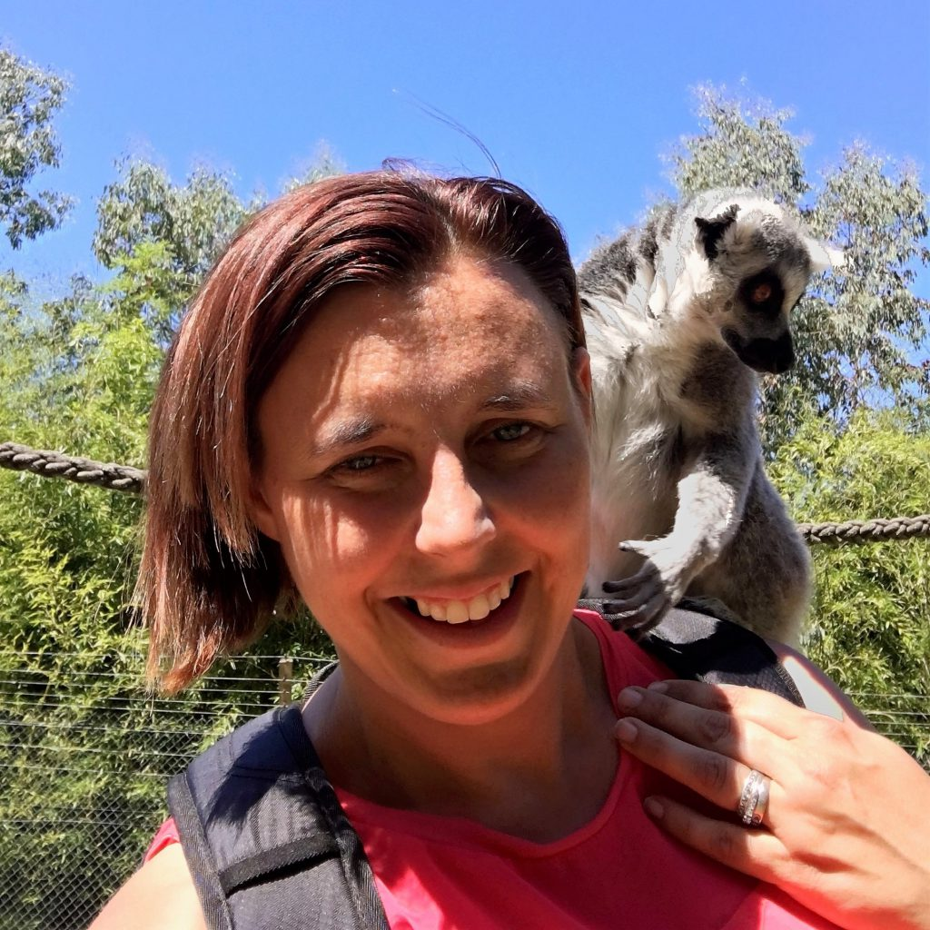 Karen and a Ring Tailed Lemur at Wingham Wildlife Park