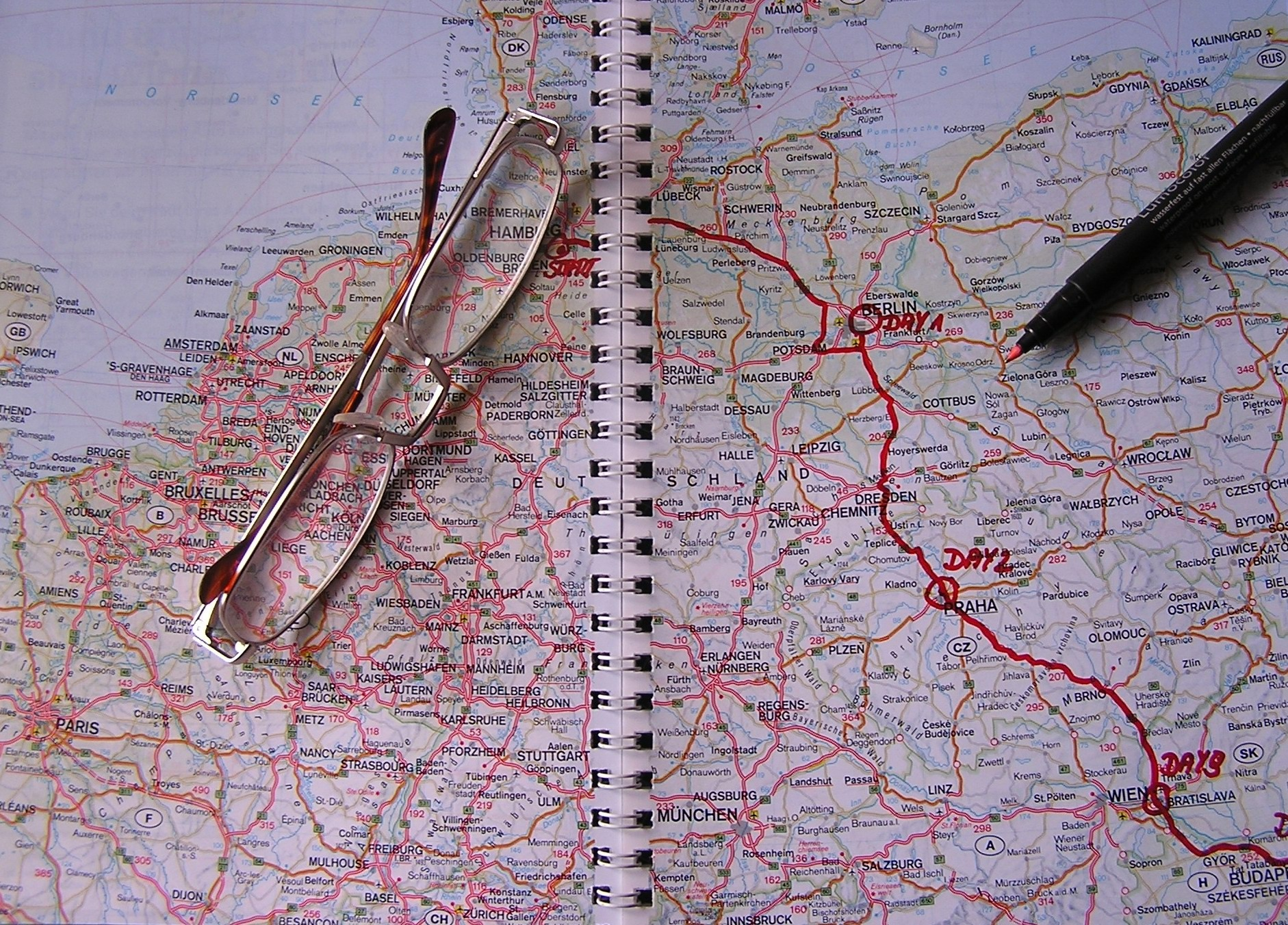 A route drawn on a map