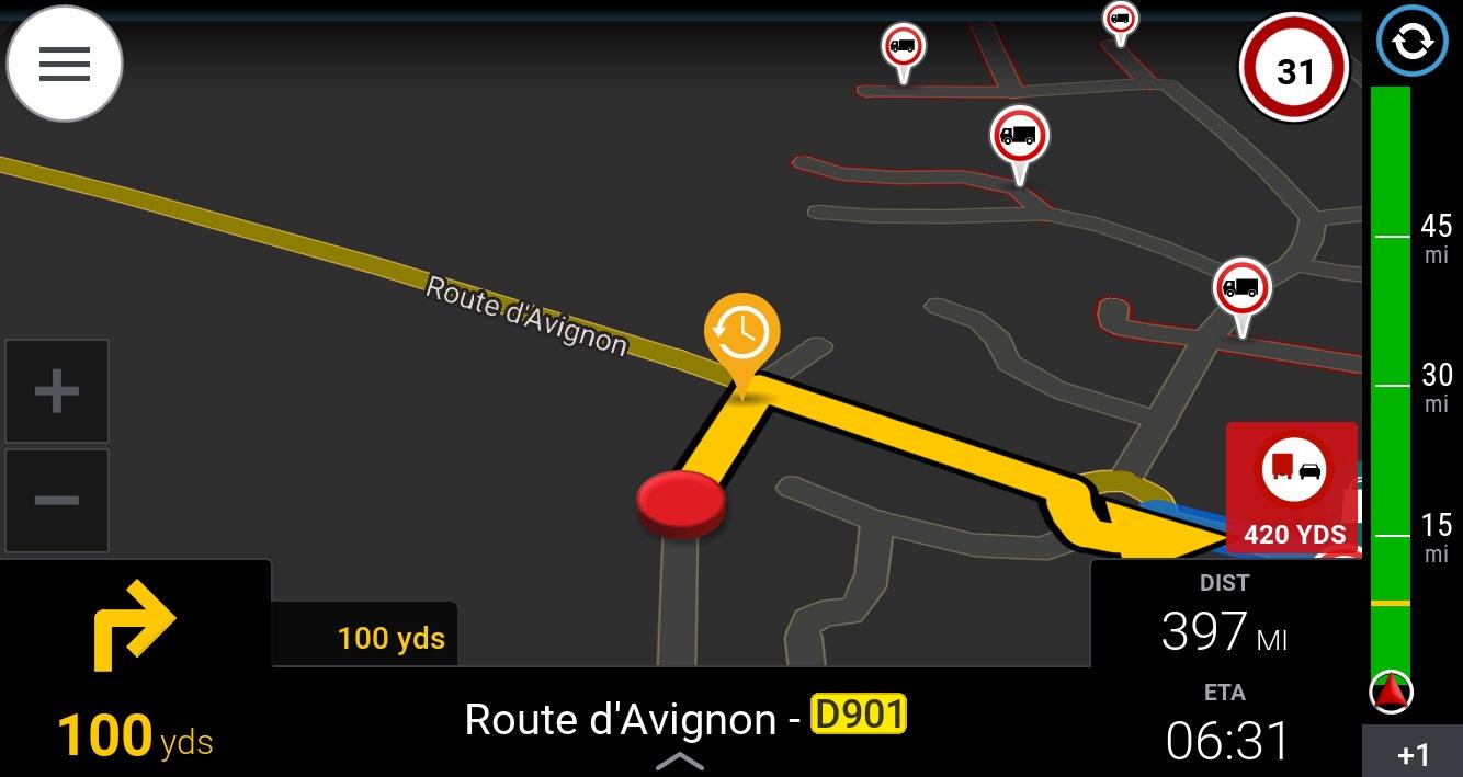 A screenshot of a sat nav system