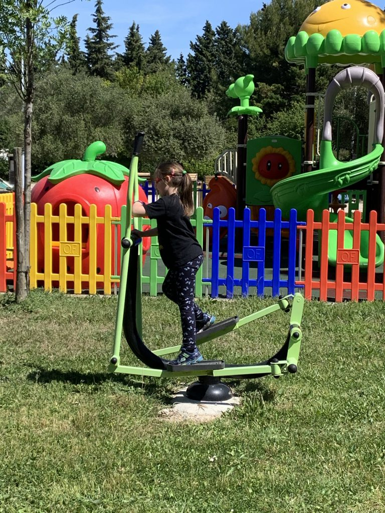 Olivia on exercise equipment