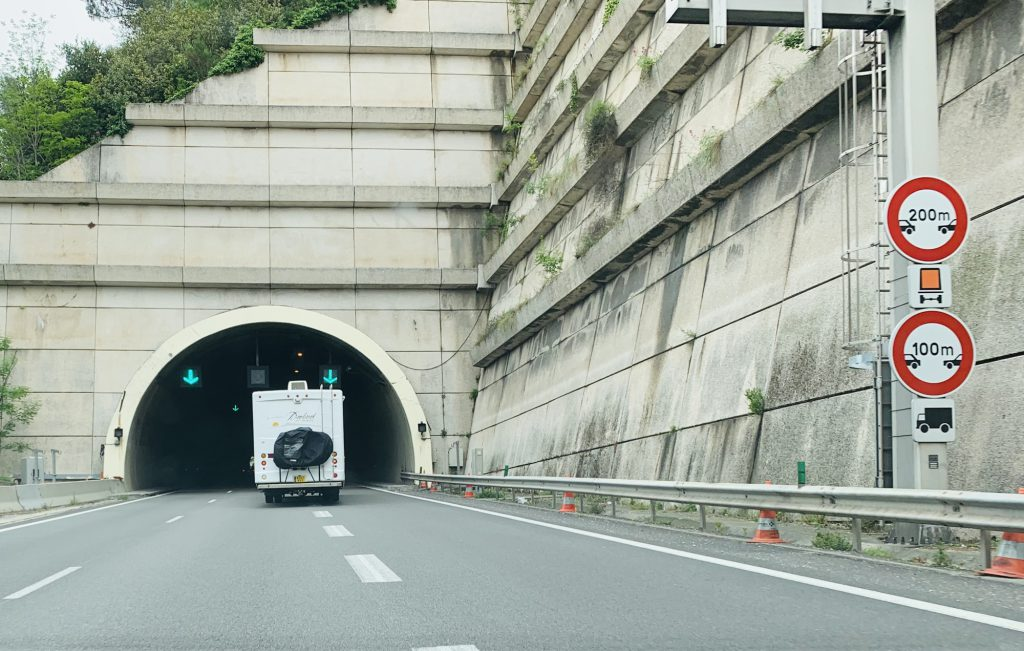 Entering a tunnel in the RV on the way to Italy