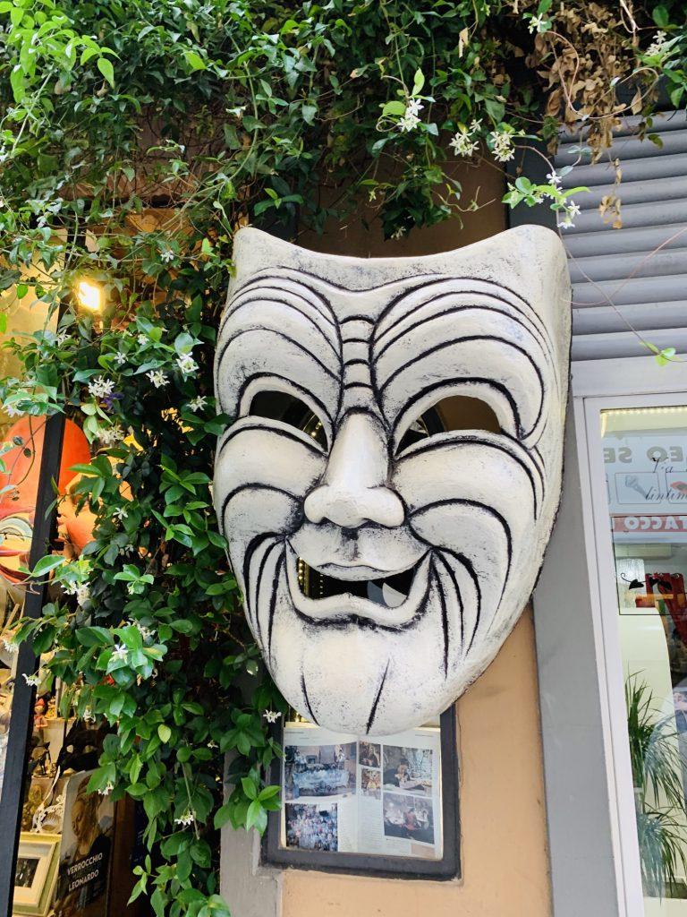 Mask outside a shop