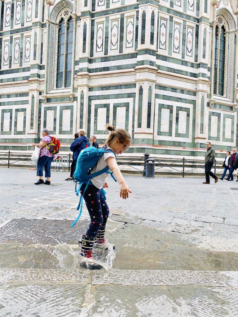 splashing in puddles in florence