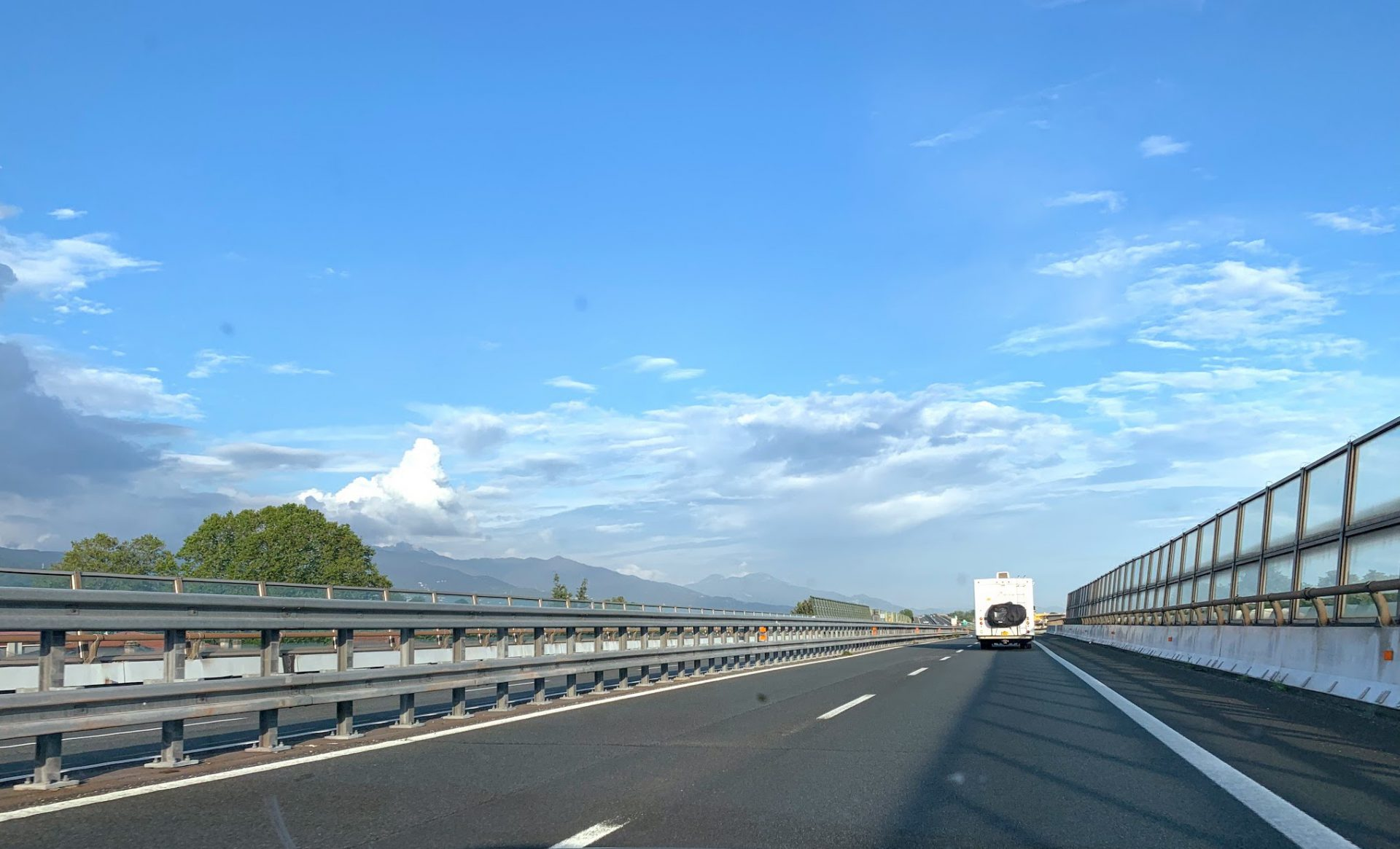 Our RV driving on the Autostrada in Italy