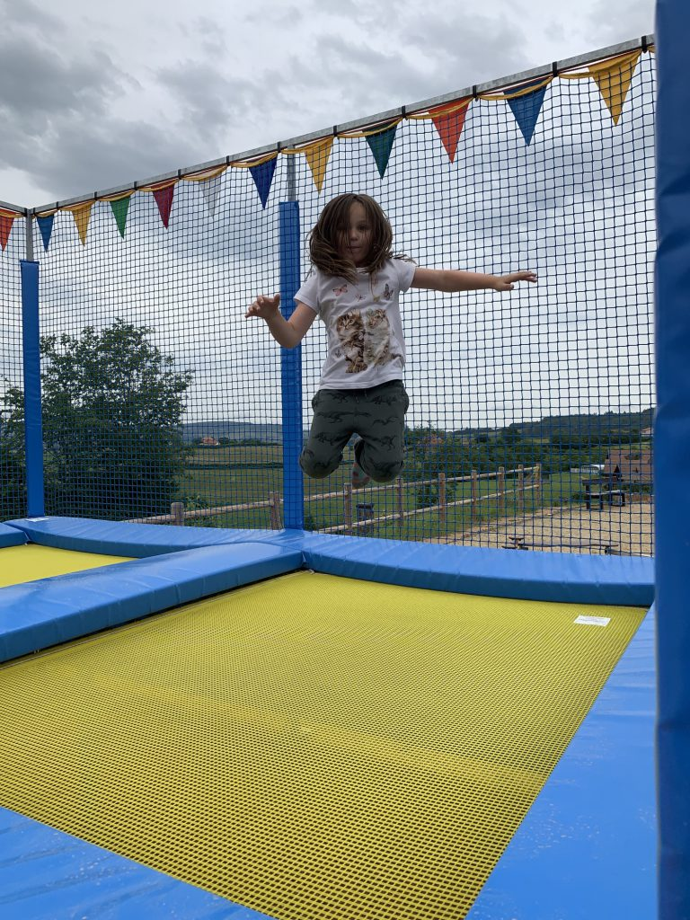 Olivia on Trampoline at Le Village de Meunier
